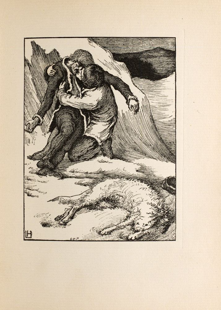 In a bleak winter landscape Sweyn is cradling his dead brother Christian while a dead white wolf lies in the foreground.